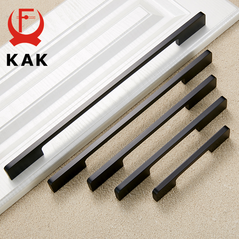 KAK 5PCS Black Cabinet Handles Solid Aluminum Alloy Kitchen Cupboard Door Handle Pulls Drawer Knobs Furniture Handle Hardware