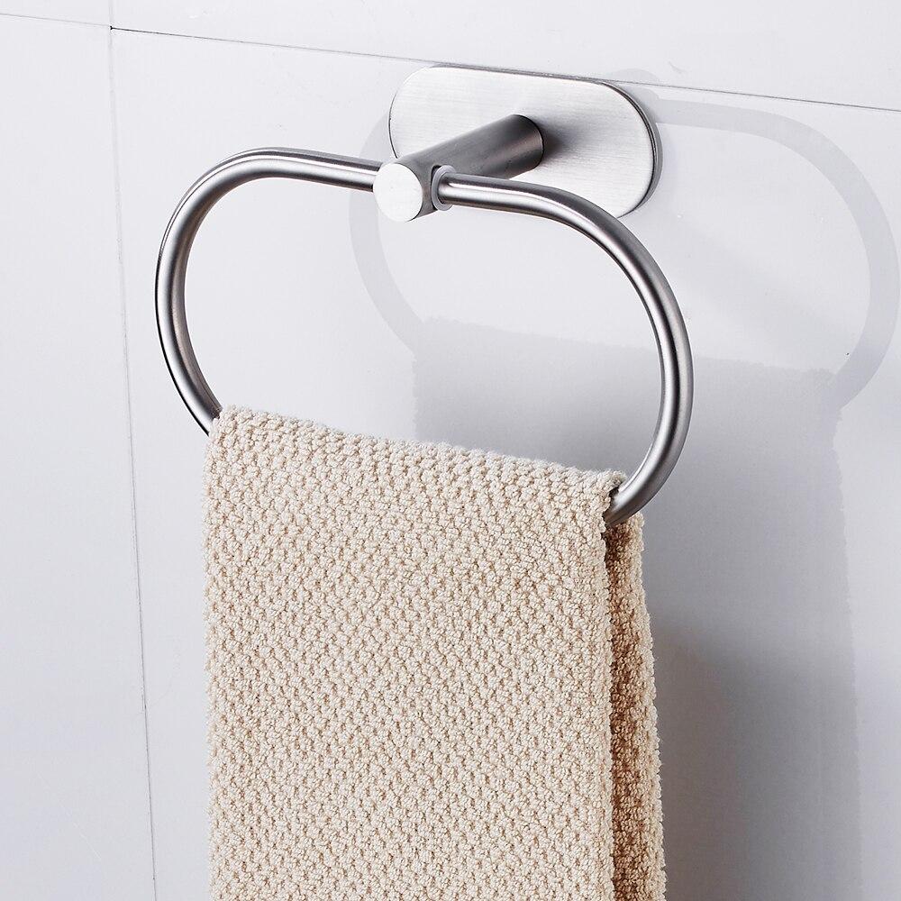 Bath Wall Mounted Chrome Towel Ring Hand Rack Roll Rail Towel Holder Toilet Furnitures Bathroom Hardware