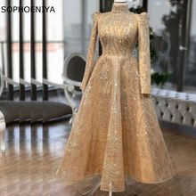 Evening-Dresses Robe Champagne Party-Dress Dubai Long-Sleeve Soiree Lace for Women New-Arrival