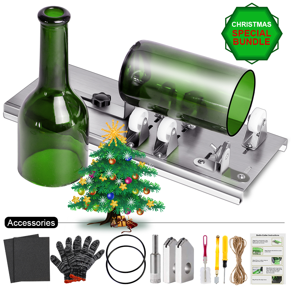 10pcs/set Glass Bottle Cutter For Decor DIY Machine For Cutting Wine Beer Whiskey Alcohol Champagne Craft Glove Glasses Tool Kit