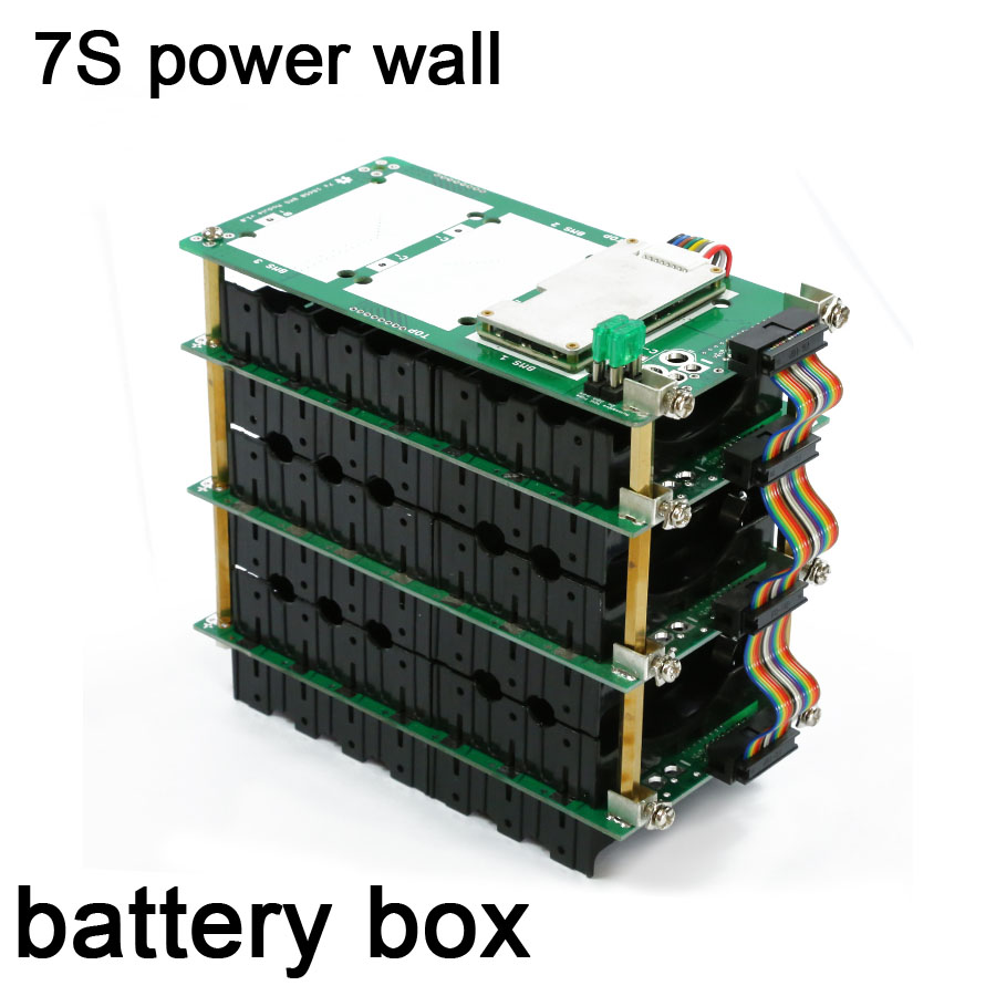 DYKB 7S Power Wall 29.4V 18650 Battery Pack Box 7S Li-ion Lithium Battery Holder BMS 20A 40A 60A Protection Board Bluetooth
