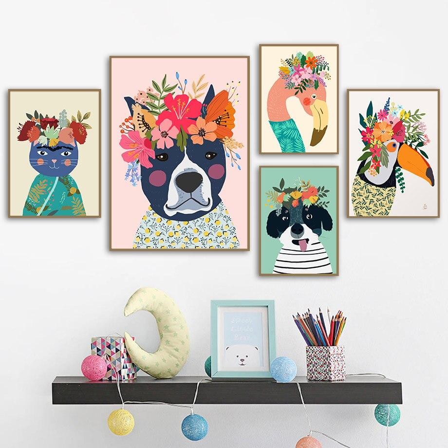Bunte Blume Haustiere Flamingo Hund Katze Toucan Nordic Poster Und Drucke Wand Kunst Leinwand Malerei Wand Bilder Kids Room Decor