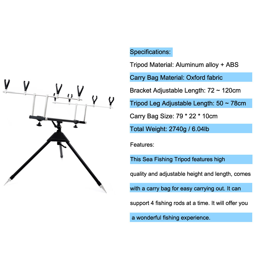 Adjustable Sea Fishing Holder Tripod Stand Bracket For 4 Fishing Rod With Carry Bag Aluminum Alloy Telescopic Fishing Rod Holder