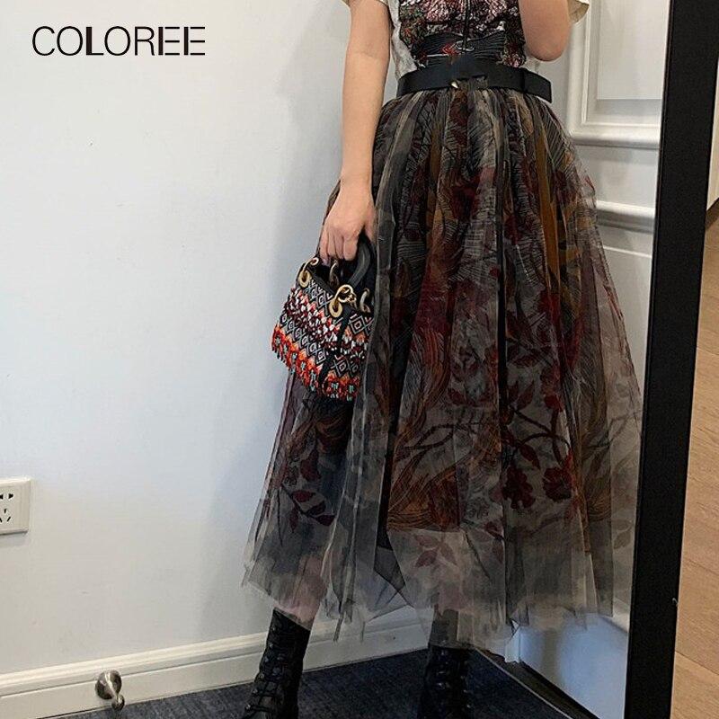 COLOREE 2020 Runway Designer Women Long Skirt Spring Summer Boho Chic Totem Print High Waist Skirt For Female New Saia Faldas