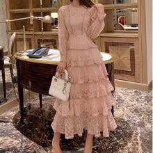 فستان ماكسي مطرز بالدانتيل الوردي فستان نسائي للربيع والشتاء بأكمام طويلة وخصر عالي فساتين حفلات طويلة أنيقة مكشكشة للسيدات 2020فساتين