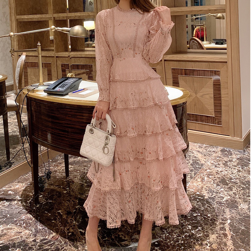 Pink Lace Embroidery Maxi Dress Female Spring Winter Full Sleeve High Waist Ruffle Elegant Long Party Dresses Woman 2020