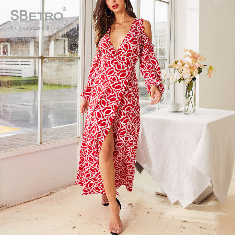 SBetro Chain Print Cold Shoulder Wrap Knotted Dress Women Autumn Long Sleeve Dress Sexy Maxi Party Elegant Boho Dresses