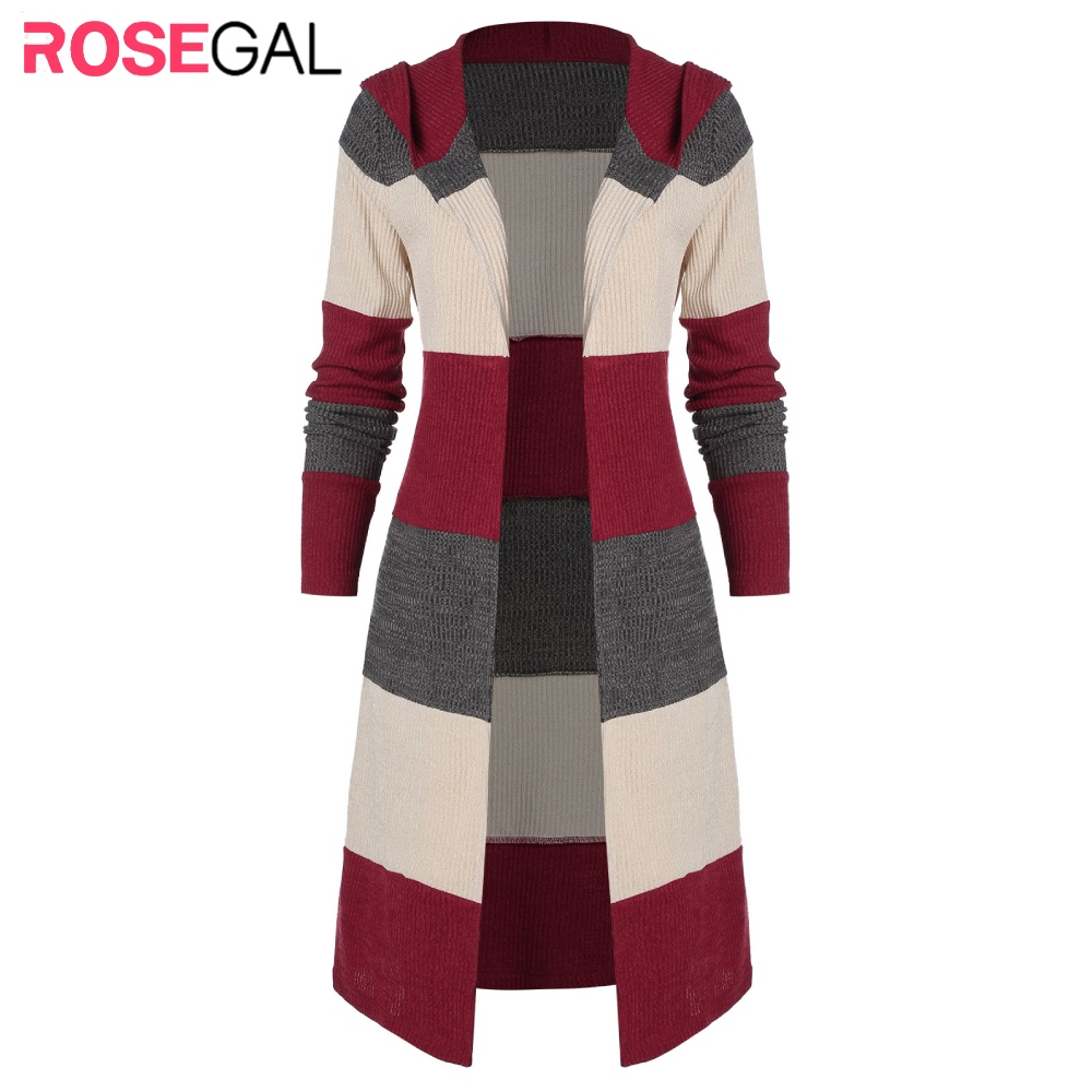 ROSEGAL Colorblock Stripes Patterned Open Front Cardigan Autumn Elastic Contrast Color Knit Long Tops Longline Hooded Cardigans