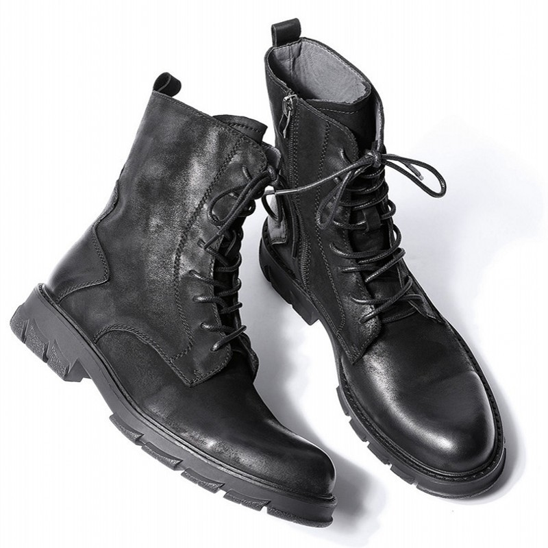 Military British Fashion New Mens Genuine Leather Cargo Boots Thick Bottom Lace Up Zip Round Toe Male Nubuck Cow High Top Boots