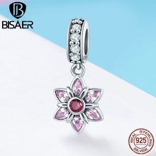 2019 Zomer Nieuwe 925 Sterling Sliver Hanger Charms Cherry Blossom & Elegant Roze Zirkoon voor Charms Armband Sieraden HSC840(China)