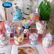 Disney bonito copo dos desenhos animados mickey impressão padrão transparente copo de plástico suco bebida copo escova bucal dente copo casal copo