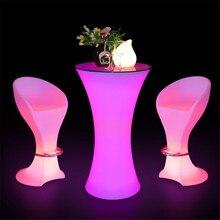 Перезаряжаемый освещенный барный журнальный столик RGB цвет меняющийся освещенный коктейльный столик(L59* W59* H110cm) ночной диско-бар