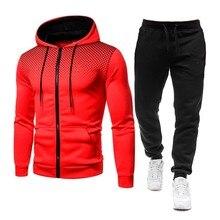 Conjunto de treino masculino poliéster 2021 novo outono 2 peça conjunto sportwear roupas masculinas casuais moletom + calças 3d