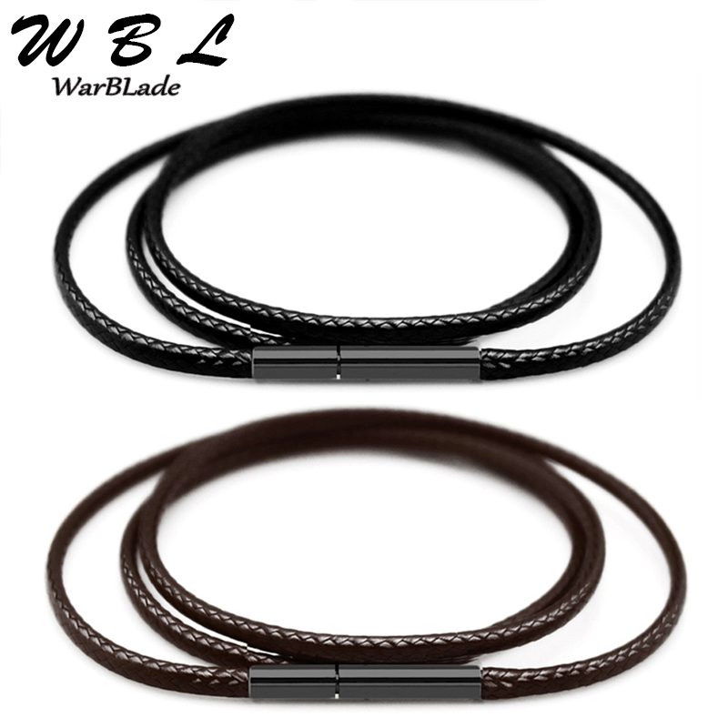 Black Necklace Cord Leather Cord Wax Rope 1mm 1.5mm 2mm 3mm Chain With Stainless Steel Clasp For Men Women DIY Necklace Making