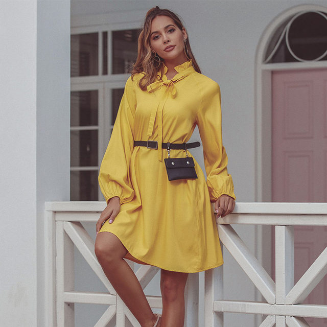 JYSS new trendy spring yellow dress women big long sleeve knee length dresses girl ropa mujer dress streetwear frocks 50168