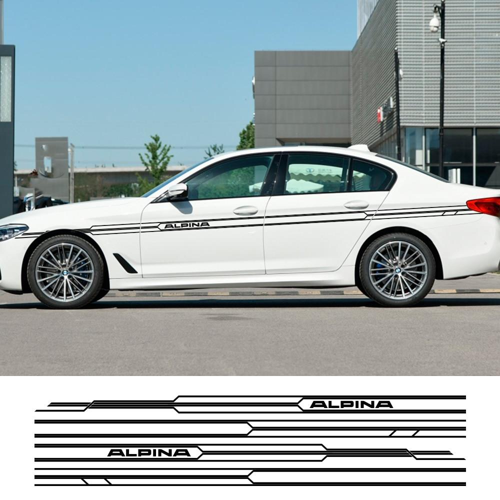 2 шт. автомобильные длинные боковые полосы Наклейка для BMW E36 E39 E46 E90 E91 E92 E93 E21 E28 E30 E34 E60 E61 F30 F10 F32 F35 аксессуары