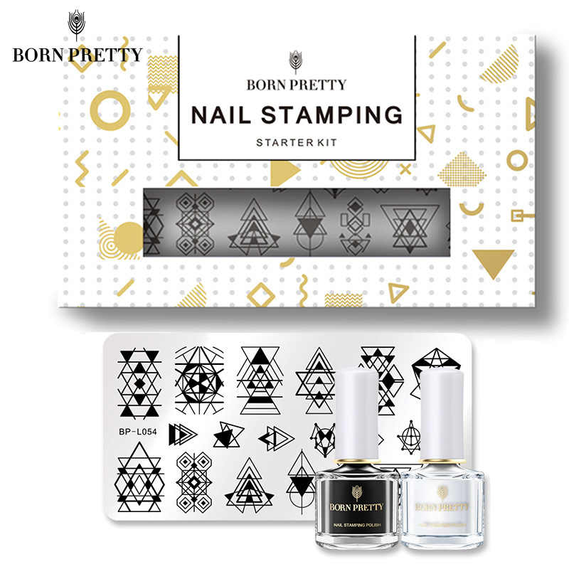 BORN PRETTY Geometry Nail Stamping Plate Clear Jelly Stamper Black White Stamping Polishes Starter Full Kit