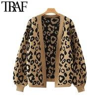 TRAF moda donna modello leopardo maglione Cardigan lavorato a maglia sciolto manica lanterna Vintage capispalla femminile top Chic