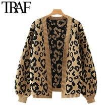 TRAF moda damska wzór lamparta luźny, dzianinowy sweter kardigan Vintage latarnia rękaw damska odzież wierzchnia eleganckie koszule