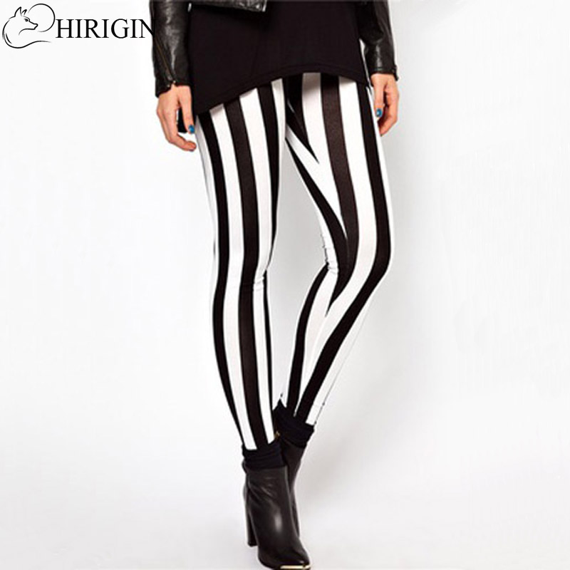 New Hot Plus Size Women Casual Black White Striped Wide Elastic Stripes Stretch Leggings Long Trousers HOT