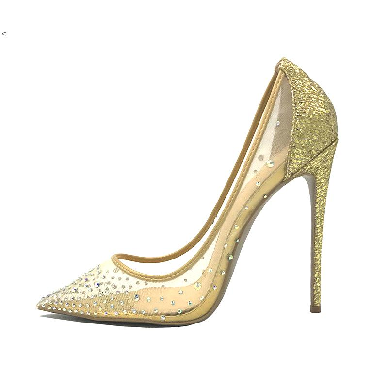 SONGLE STORE rhinestone Sexy Red Bottom high heels pumps 12cm large size gold crystals party wedding shoes women pumps