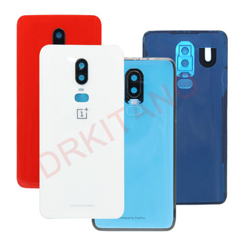 Oneplus 6 6T Back Battery Cover One Plus 6T Rear Battery Door Housing Case Back Glass Panel Oneplus 6 Back Cover+Camera Lens original new back glass oneplus 7 7t pro battery cover door one plus 7t rear housing case oneplus 7 pro battery cover panel
