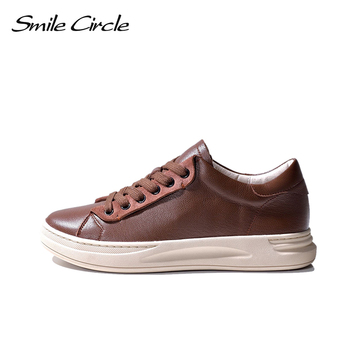 Smile Circle  Sheep leather Luxury Women Sneakers Lace-up Casual Flat Ladies Shoes high quality Comfortable Women's Flat Shoes keerygo women s shoes inside and outside the full leather lace leather shoes comfortable feet big shoes