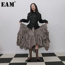 [EAM] высокая эластичная талия, плиссированная Асимметричная юбка в клетку с оборками, женская мода, новинка весны и осени, 1H272