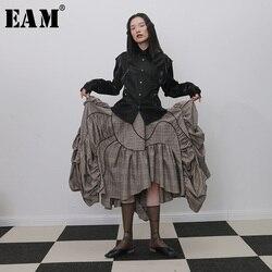 [EAM] عالية مرونة الخصر منقوشة الكشكشة مطوي غير متناظرة نصف الجسم تنورة المرأة الموضة المد جديد ربيع الخريف 2020 1H272
