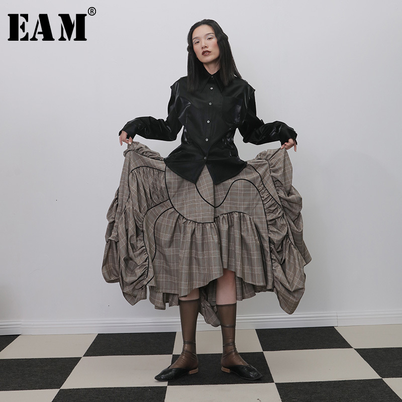 [EAM] High Elastic Waist Plaid Ruffles Pleated Asymmetrical Half-body Skirt Women Fashion Tide New Spring Autumn 2019 1H272