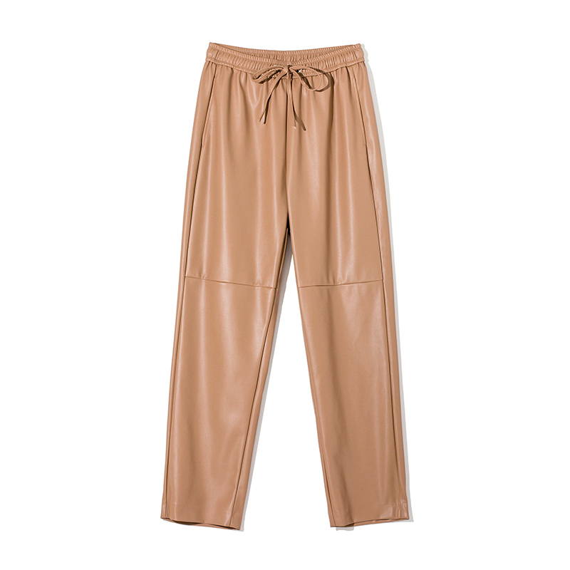 WOTWOY High Waist Spliced Loose Leather Pants Women Autumn Solid Drawstring PU Leather Trousers Women Straight Pants Female 2020