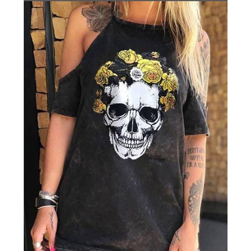 Summer Dresses Women Punk Style Loose Halter Neck Sleeveless Skull Print Female Shirt Dress Street Side High Split Flower Print 17