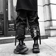 2020 Men Streetwear Hip Hop Black Cargo Pants Pockets Harajuku Harem Pants Swag Ribbon Joggers Pants HipHop Sweatpants Trousers