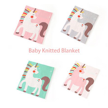 Cartoon Baby Knitted Blanket 100% Cotton Soft and Breathable Swaddle Set Newborn Baby Quilt Baby Products Toddler Bed Bedding(China)