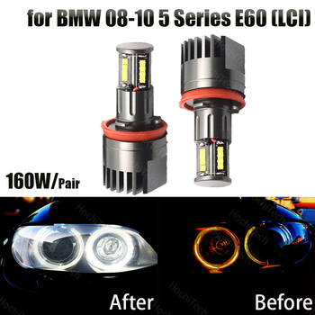 160w Led Marker Car Angel Eyes for BMW 2008-2010 5 Series E60 (LCI) White LED Halo Angel Eye Headlight Bulbs image