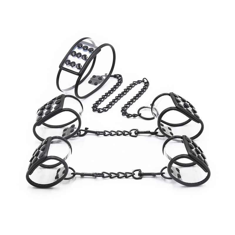 Handboeien Enkelband Lock Oogmasker Kraag Lead Set Bdsm Bondage Terughoudendheid Exotische Tool Slave Unisex Paar Seksspeeltje Voor Man vrouw
