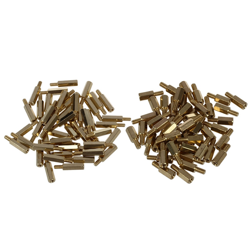100Pcs Brass Screw Thread Pcb Stand-Off Spacer <font><b>M3</b></font> Male x <font><b>M3</b></font> Female - 50Pcs Length 9Mm & 50Pcs Length <font><b>15Mm</b></font> image