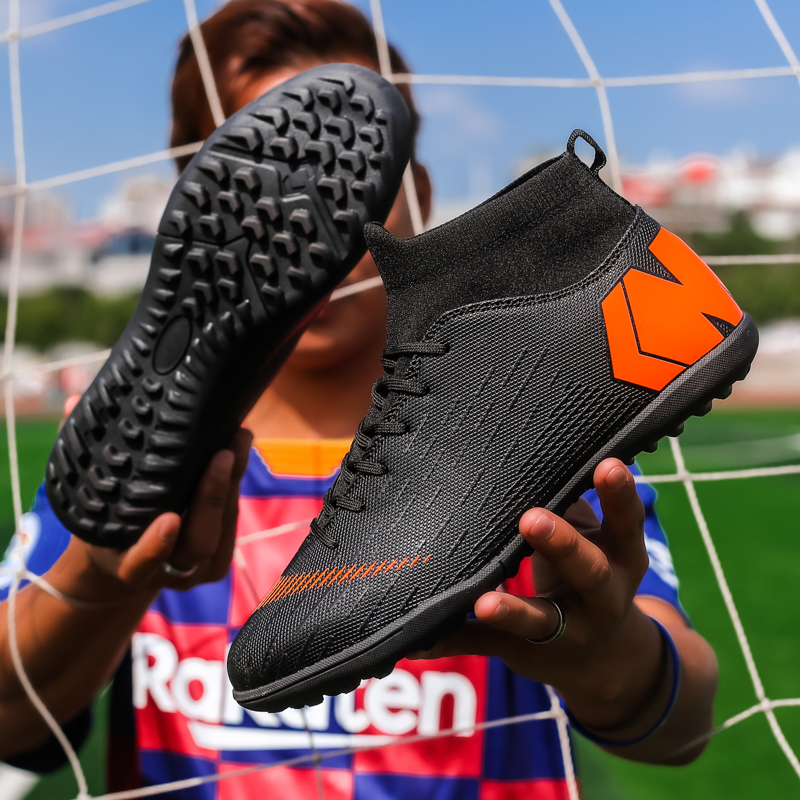 ZHENZU Men Boys Soccer Shoes White Black Football Boots High Ankle Kids Cleats Training Sport Sneakers Size Eu 35-44