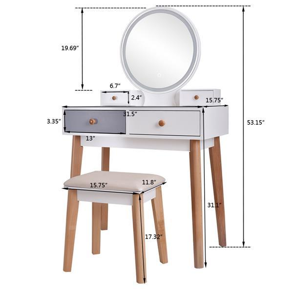 Dresser With Mirror Bedroom Light Luxury Real Wood Dressing Table Simple Makeup Table With Lamp Three Color Adjustable 3