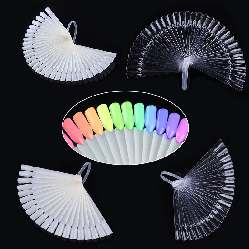 32Pcs Color Display Card False Nail Tips Fan Transparent White Nail Art Practice Display Tools Manicure Accessories