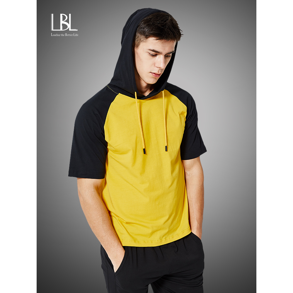 Summer Patchwork Hoodies Men 2020 Fashion Short Sleeve Tops Tees Hooded Sweatshirts Hip Hop Tracksuit Mens Camisa Masculina