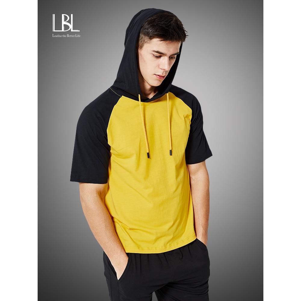 Summer Patchwork Hoodies Men 2020 Fashion Short Sleeve Tops Tees Hooded Sweatshirts Hip Hop Tracksuit Mens Camisa Masculina