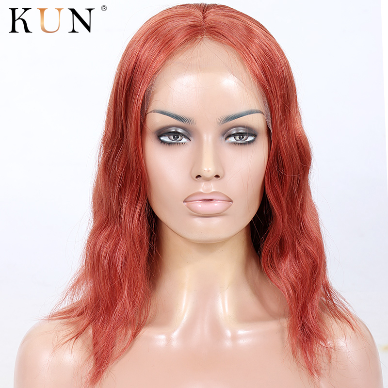#130 Soft Red Short Human Hair Wig Bob Lace Front Human Hair Wigs Natural Wave 150 180 Density 13x6 Bob Lace Wig Chinese Remy