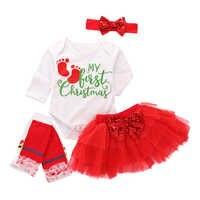 Bébé noël tenues mon premier noël fille vêtements ensemble 4 pièces imprimé body + jupe + bandeau + genouillères bébé fille vêtements D35