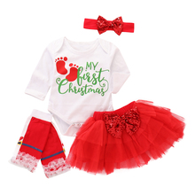 Baby Christmas Outfits My First Girl Clothes Set 4Pcs Print Bodysuit+Skirt+Headband+Knee Pads D35