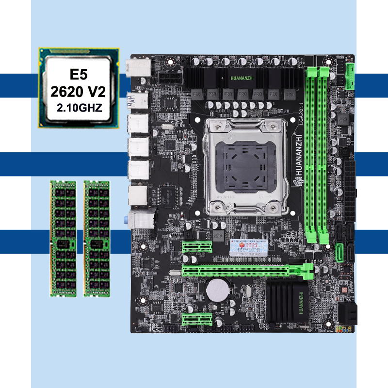 HUANANZHI X79 Motherboard CPU Memory Set X79 LGA2011 Motherboard Intel Xeon E5 2620 V2 RAM 2*8G DDR3 REG ECC