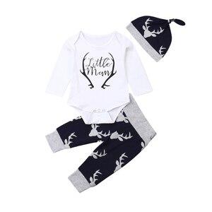 2019 jesień maluch dziewczynek chłopców ubrania 3 sztuk noworodków niemowląt chłopców list Romper kombinezon renifer spodnie stroje zestaw