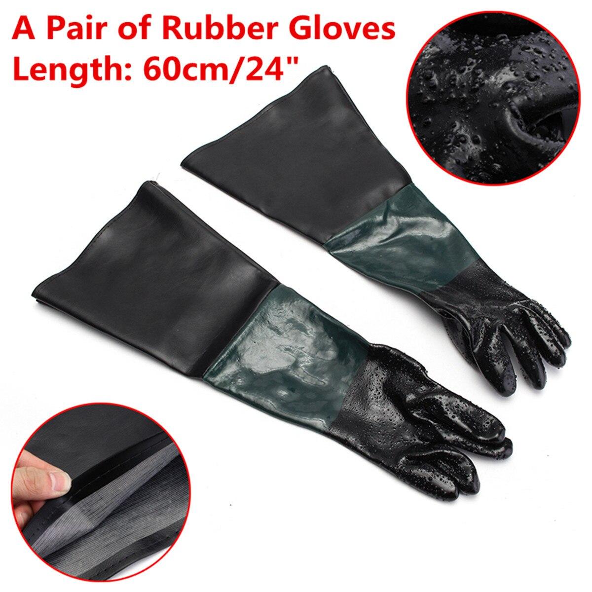 Gloves For Sandblast Cabinets Safety Glove 24''x10'' Rubber Sandblaster Sand Blast Sandblasting  Nitrile Gloves Black