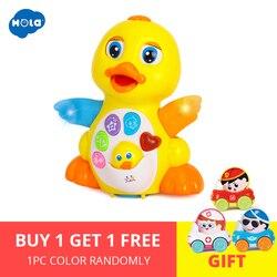HOLA 808 Brinquedos Do Bebê Batendo EQ Amarelo Pato Infantil Brinquedos Bebe Brinquedo para Crianças Miúdos 1-3 Elétrica Universal anos de idade