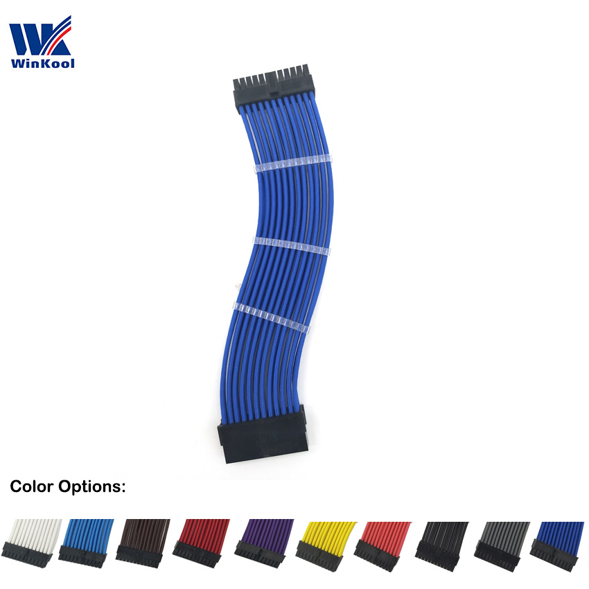 WinKool <font><b>ATX</b></font> MB <font><b>24PIN</b></font> Female to Male 20+4P 18AWG Sleeved PSU Extension Power Cord / <font><b>Cable</b></font> with Black White Blue Red Sleeving image